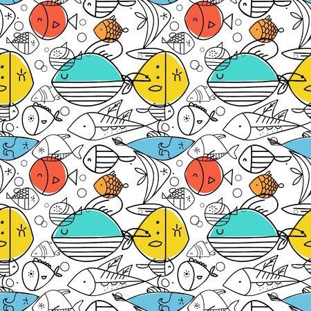 Fish pattern flat illustration. Home and kitchen decoration series.