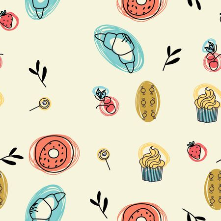 Coffee cupcake and croissant seamless pattern design . Kitchen and home decoration series.