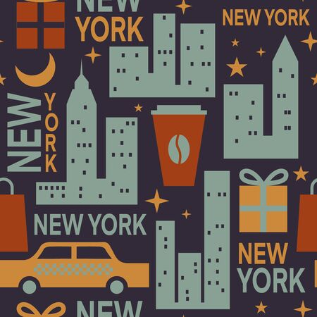 New York pattern seamless design. Decoration textile and paper series Vettoriali