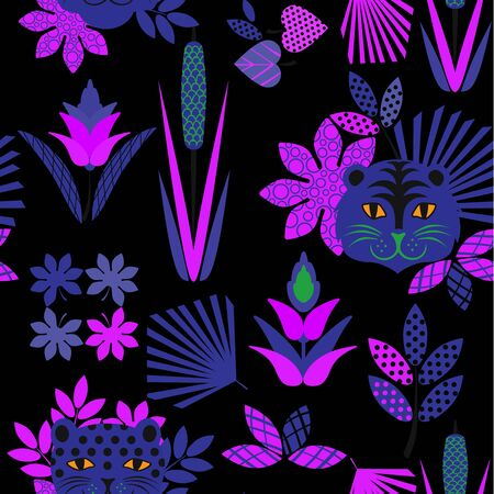 Tiger and leopard pattern geometric style design for children