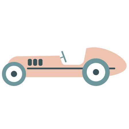 Old car flat illustration. Kids transport decoration series.