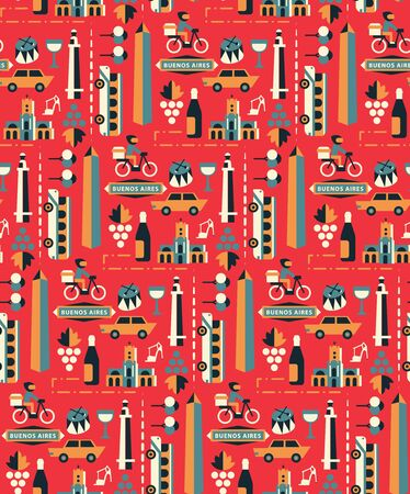 Buenos Aires pattern seamless design. Decoration textile and paper series
