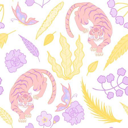 Tiger pattern flat color seamless design illustration