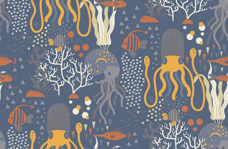 Underwater creatures pattern seamless design. Decoration textile and paper series Vettoriali