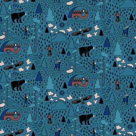 Yosemite National Park pattern design for children Ilustrace