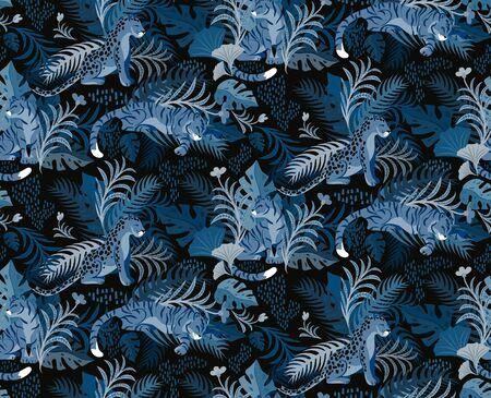 Leopard and tiger pattern flat color seamless design illustration