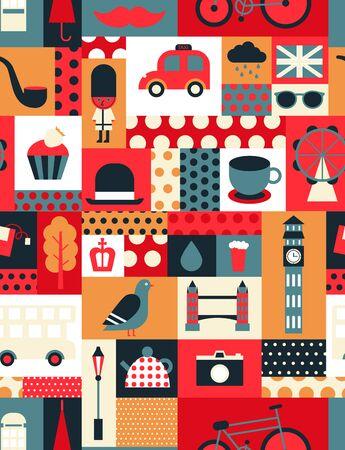 London pattern seamless geometric design . Travel tourism decoration series. Ilustrace
