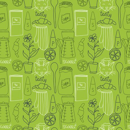 Kitchen pattern seamless hand drawn design. Kitchen and home decoration series.