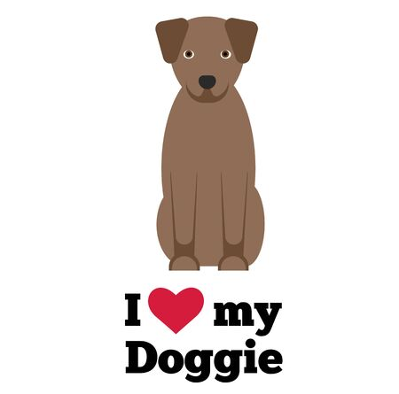 I love my doggie , illustration on white background