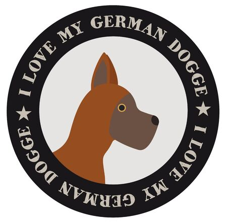 I love ,my german dogge , illustration on white background