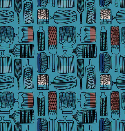 Bottle and vases seamless pattern. Surface pattern design series for home and living.