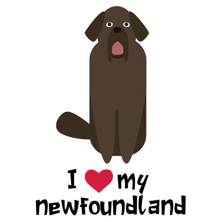 I love my newfoundland , illustration on white background
