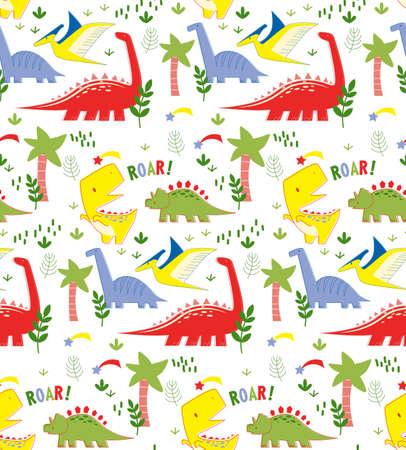 Dino pattern seamless cartoon design. Kids playground series.