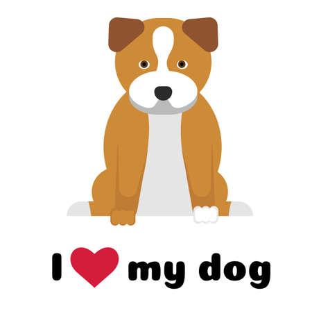 I love my dog , illustration on white background