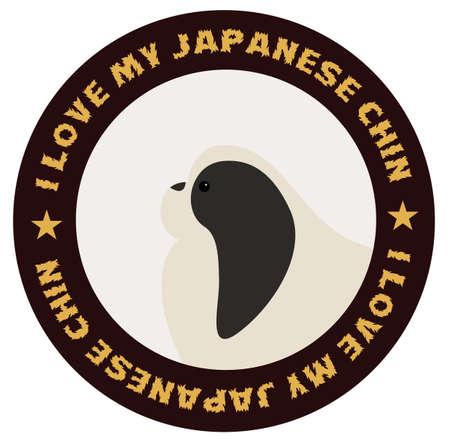 I love my japanese chin, illustration on white background
