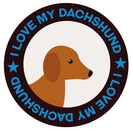 I love my dachshund , illustration on white background Banco de Imagens - 150577418
