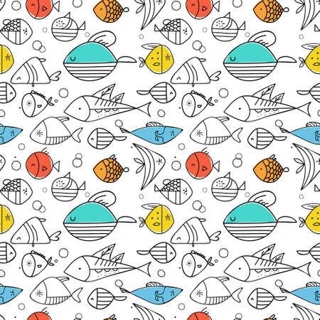 Fish pattern flat illustration. Home and kitchen decoration series.