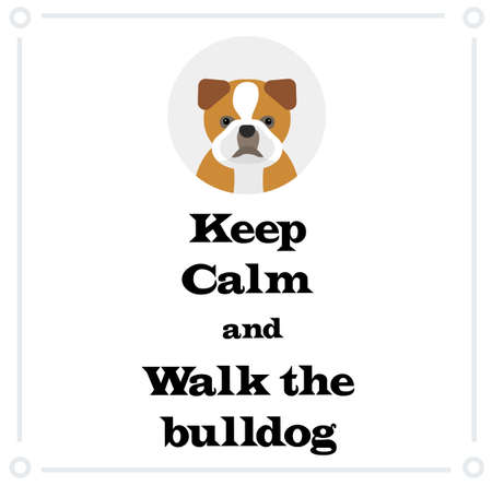 Keep Calm and walk the bulldog , illustration on white background