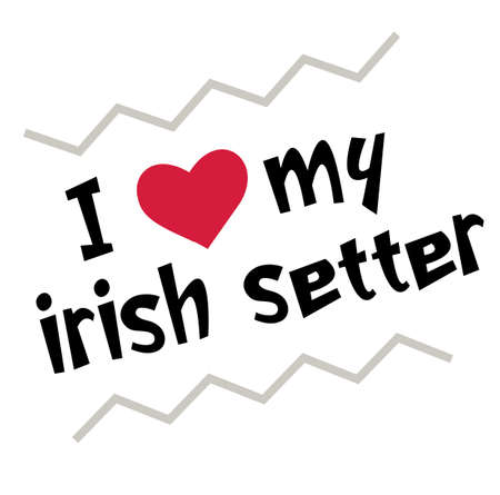 I love my irish setter , illustration on white background