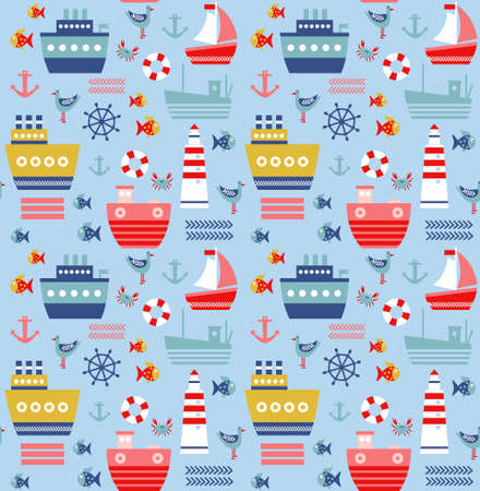 Sea pattern seamless geometric design . Kids cartoon decoration series. Banco de Imagens - 150578514