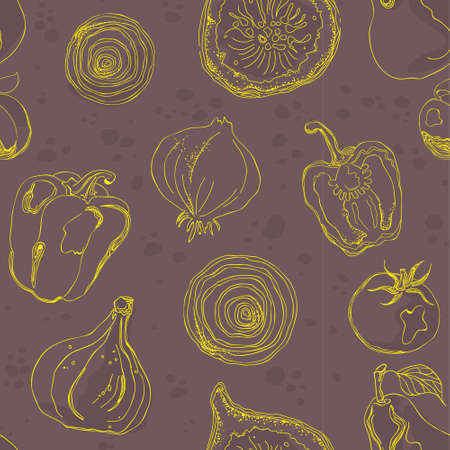 Food pattern seamless hand drawn design . Kitchen and home decoration series.