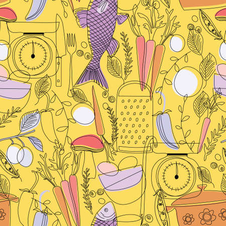 Food pattern seamless hand drawn design . Kitchen and home decoration series. Banco de Imagens - 150578517