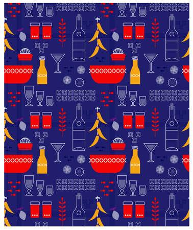 Kitchen pattern flat illustration. Kitchen seamless patterns and surface design series. Ilustração
