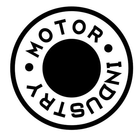 MOTOR INDUSTRY black stamp on white background. Stamps and stickers series. Ilustração