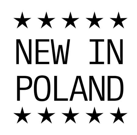 NEW IN POLAND black stamp on white background. Stamps and stickers series.