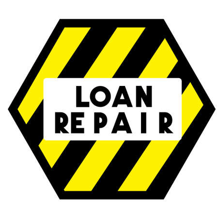 LOAN REPAIR stamp on white background. Stickers labels and stamps series.