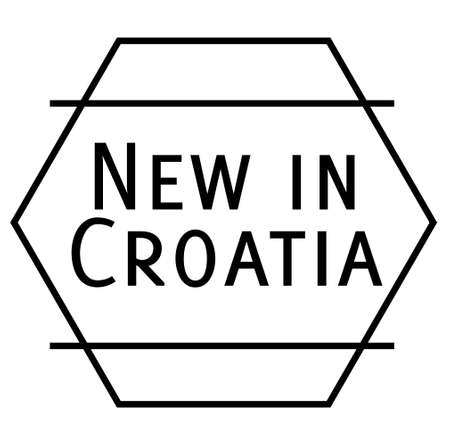 NEW IN CROATIA stamp on white background. Stickers labels and stamps series.