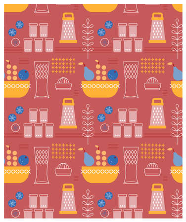 Kitchen pattern flat illustration. Home and kitchen surface design series.