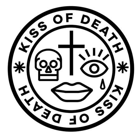 Kiss Of Death isolated on white sign, badge, stamp