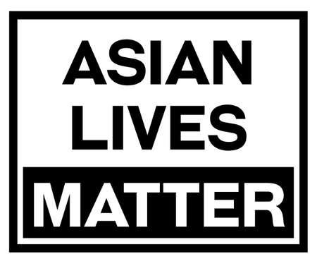 Asian lives matter black sign on white