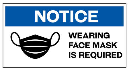 Notice wearing face mask is required in english 向量圖像