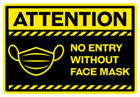 Attention no entry without face mask sign 向量圖像
