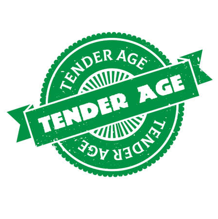 Tender Age isolated on white sign, badge, stamp