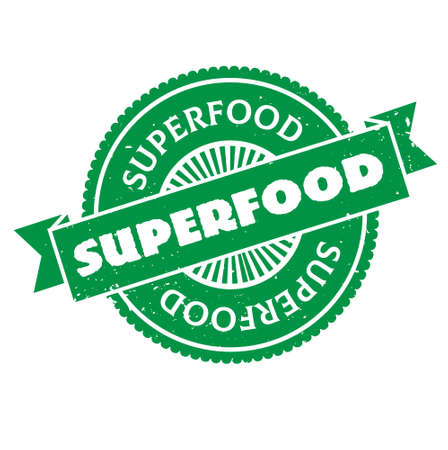 Superfood isolated on white sign, badge, stamp