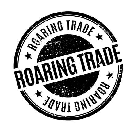 Roaring Trade isolated on white sign, badge, stamp 向量圖像
