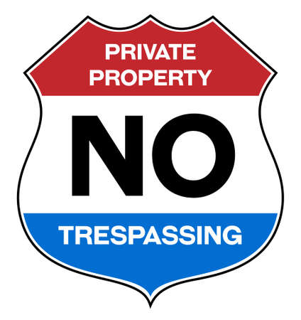 Private property no trespassing warning sign in english