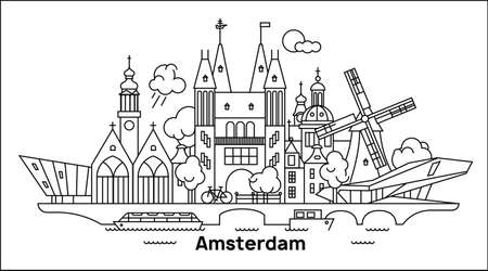 Amsterdam City Outline Skyline in minimal style. Vector cityscape with Amsterdam famous landmarks. Gooyer windmill, Rijksmuseum, church, nemo, film museum, technology museum, Nieuwe Kerk, Oude Kerk. 向量圖像