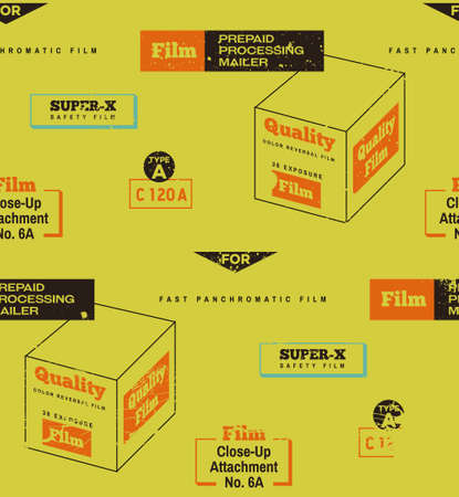 Retro Film packaging seamless pattern background. Vintage colors, retro camera, vintage film, retro technology, retro feel