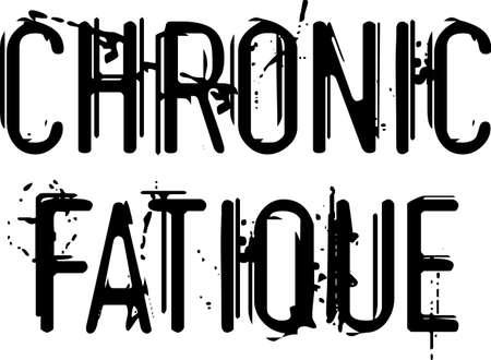 Chronic Fatique black typographic pictogram. Distressed words chronic Fatigue on white. 向量圖像