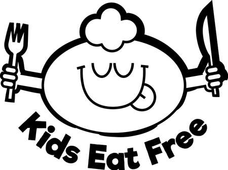 kids eat free black sign. Funny cartoonish kid face licking lips with closed eyes, enjoying good food. Holding fork and knife.