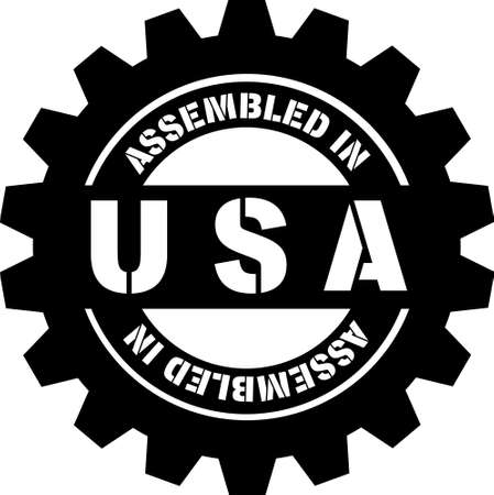 Assembled in USA black sign. Metal machine gear with words Assembled in USA on it. Production sign. 向量圖像