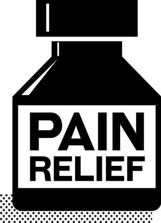PAIN RELIEF black sign. Medicine bottle with words Pain relief on it. Black pictogram of pain relief medicines, concept.