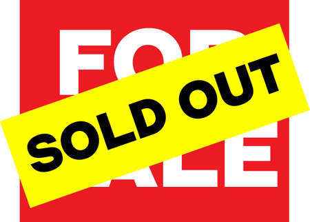 SOLD OUT yellow on red vivid sign. Bright yellow label Sold out sticked on red sign with words for sale. Sign of closed deal.