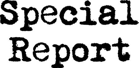 special report black typewriter sign. Old distressed typography with words Special Report, feel of typewriter print.