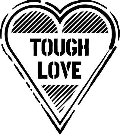 TOUGH LOVE black grunge sign. Black distressed heart shaped stamp with words Tough Love on it. 向量圖像