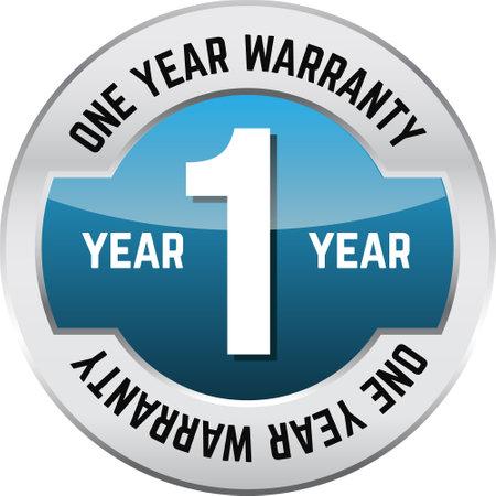 ONE YEAR WARRANTY shiny button. Bright metal shiny circular button with words One year warranty on it. 向量圖像
